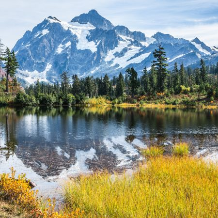 Mount Shuksan Reflected in Picture Lake Early Fall